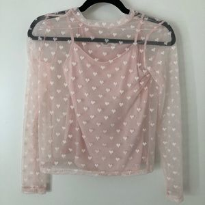 Sheer pink long sleeve with hearts shirt